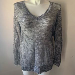 Chico's Open Knit Gray Black Top